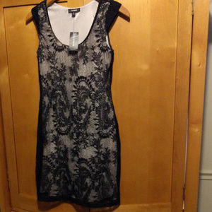 NWT Express Black Lined Cocktail Occasion Dress XS